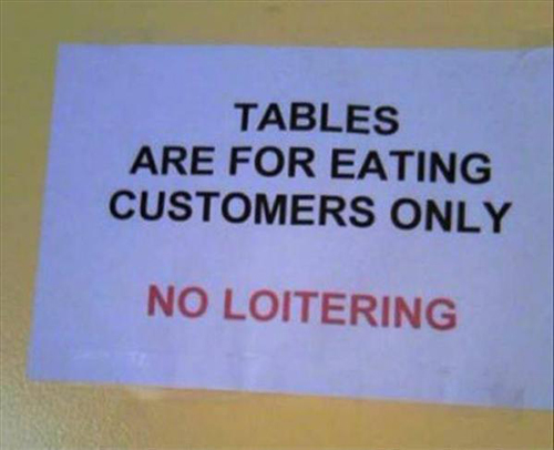Tables eating customers