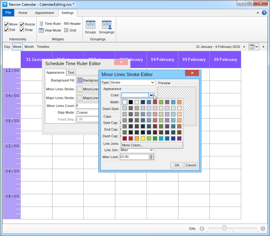 Time ruler linesl editing in Nevron Calendar