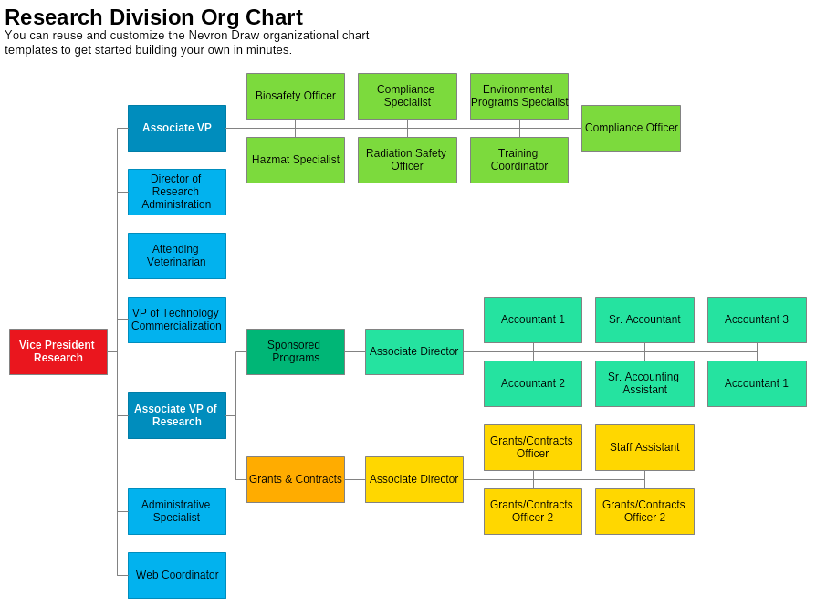 Research Division Organizational Chart Template Nevron