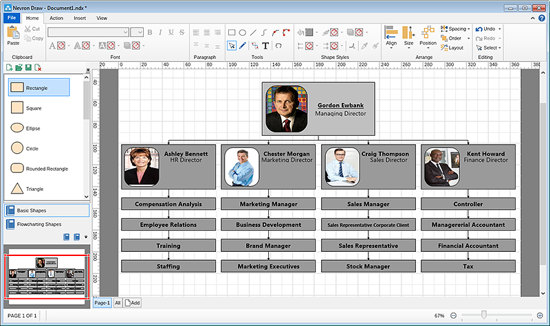 Organizational chart final result after layout