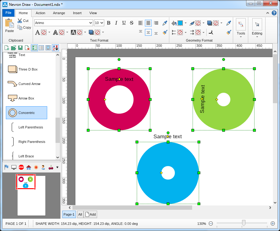 how to draw semi circle in visio
